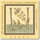 Name Doodles - Square Address Labels/Stickers (Floral Caps Yellow)